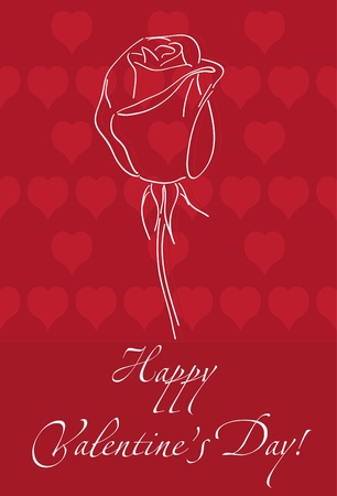 Romantic card for Valentines Day with rose Vector