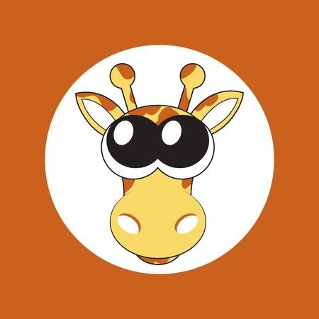 Illustration der Karikatur Giraffe mit großen Augen niedlich