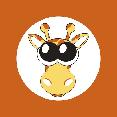 illustration of cartoon giraffe with big cute eyes Vector