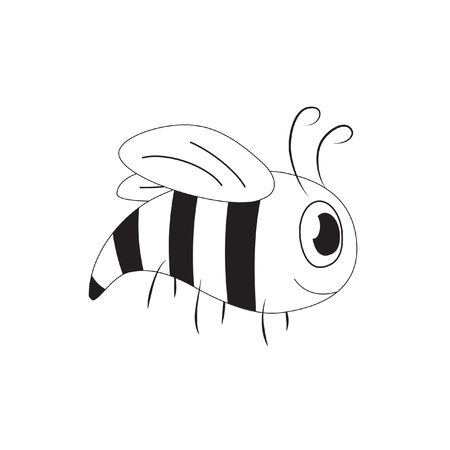 stinger: Cute cartoon bee (yellow-jacket), black and white