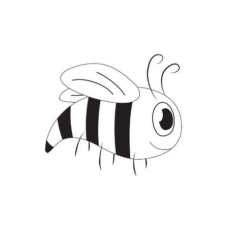 Cute cartoon bee (yellow-jacket), black and white