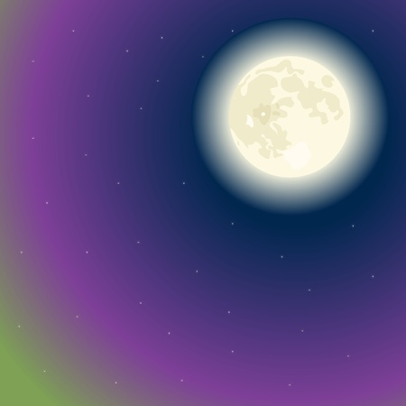 moon on a dark blue sky with polar lights Vector