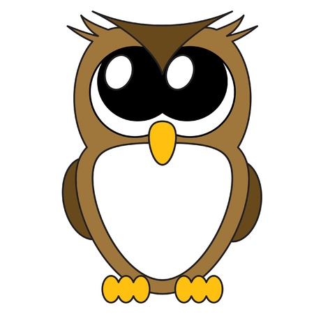 Very cute cartoon owl with big eyes,