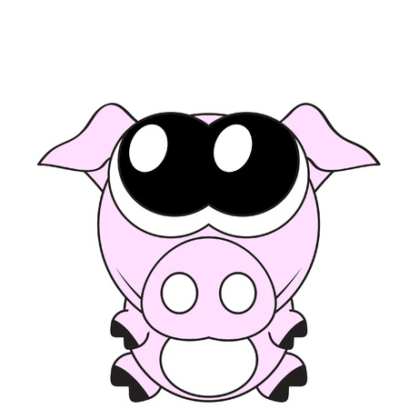 Very cute piglet with big eyes,  Vector