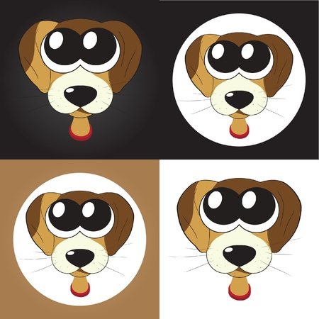 Set of cartoon puppies (dogs) with big eyes Vector