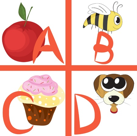 Alphabet for kids, letters a-d, illustration Vector