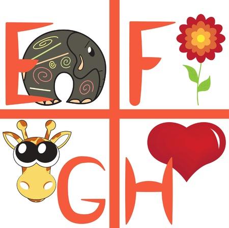Alphabet for kids, letters e-h, illustration Vector
