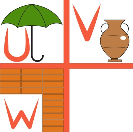 Alphabet for kids, letters u-w, illustration Vector