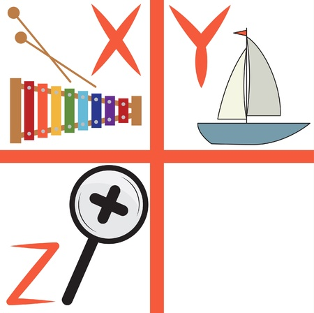 zoom in: Alphabet for kids, letters x-z, illustration
