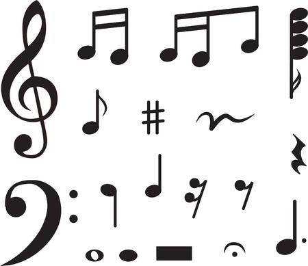 viertelnote: Icon von Noten gesetzt. Abbildung