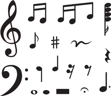 Icon set of musical notes. illustration