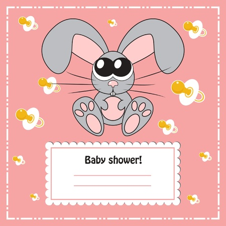 Baby shower invitation card with rabbit, vector Vector