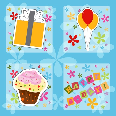happieness: Happy birthday colorful greeting card, vector illustration Illustration