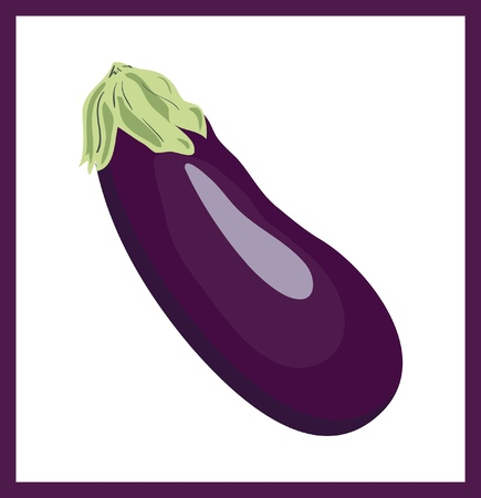 Cartoon eggplant  aubergine , vector illustration Ilustracja