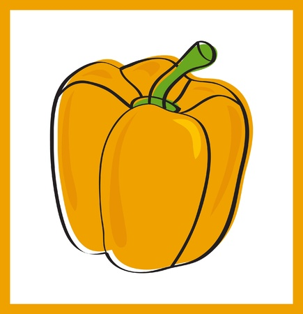 Sweet yellow pepper, vector illustration Stock Vector - 13383369