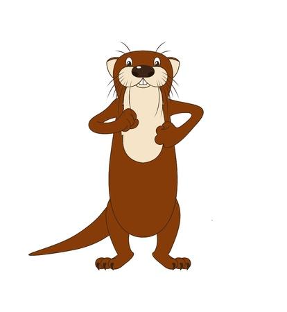 Funny cartoon walking river otter, vector illustration Illustration