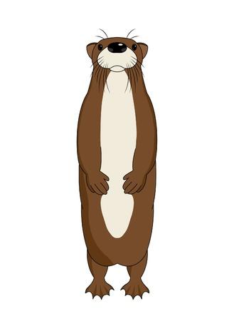Funny cartoon otter, vector illustration Vettoriali