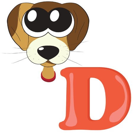 Alphabet for kids, letter D Vector