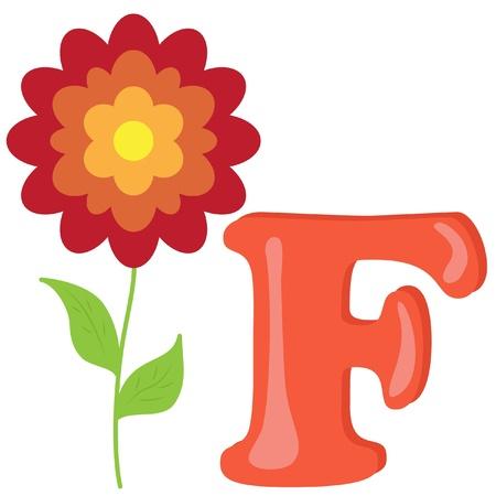 Alphabet for kids, letter F Vector