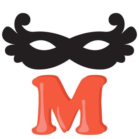 Alphabet for kids, letter m, vector illustration