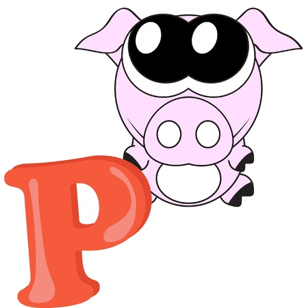 Alphabet for kids, letter P Stock Vector - 13719477