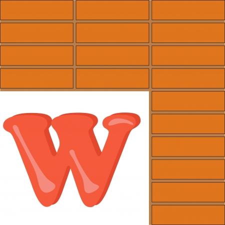 Alphabet for kids, letter W Stock Vector - 13719426
