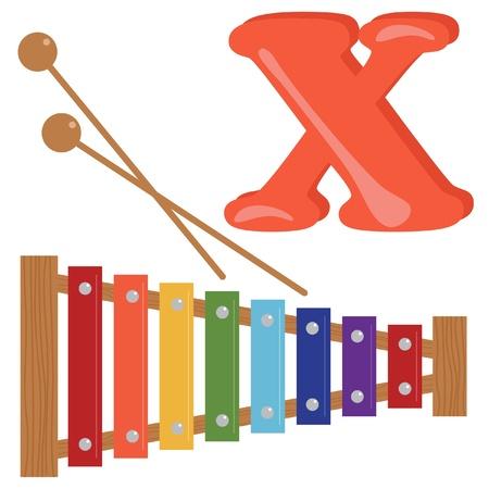 xilofono: Alfabeto para los niños, letra X Vectores