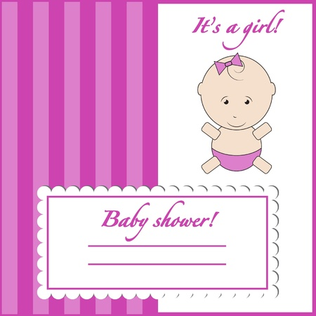 Baby shower invitation card, its a girl Vector