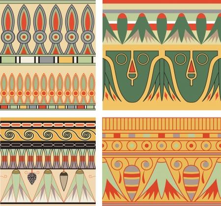 Set of ancient egyptian ornament, seamless pattern. Illustration