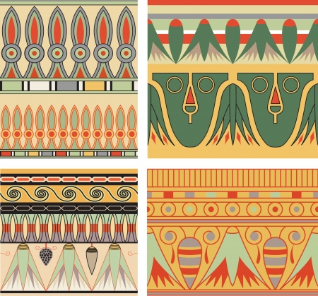 Set of ancient egyptian ornament, seamless pattern. Illustration