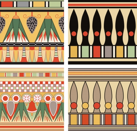 Set of ancient egyptian ornament, seamless pattern. Vector