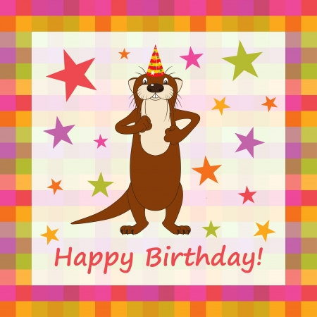 happieness: Happy birthday funny greeting card. Illustration