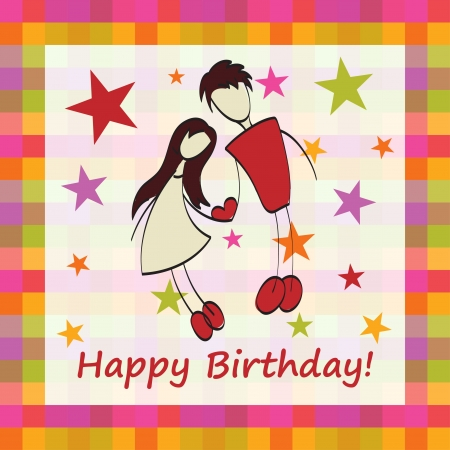 stylish couple: Happy birthday cute greeting card with lovers. Illustration
