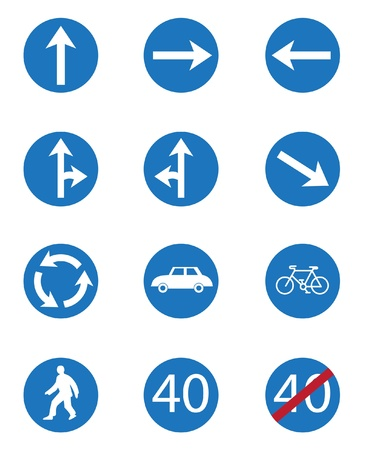 fork in the road: Set icon of road signs Illustration