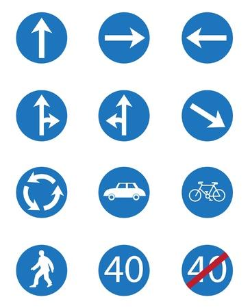 Set icon of road signs Illustration