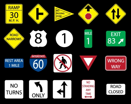 Set icon of road signs. Vector