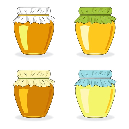 Jars of honey, set icon, vector illustration Ilustracja