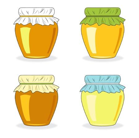 honeyed: Jars of honey, set icon, vector illustration Illustration