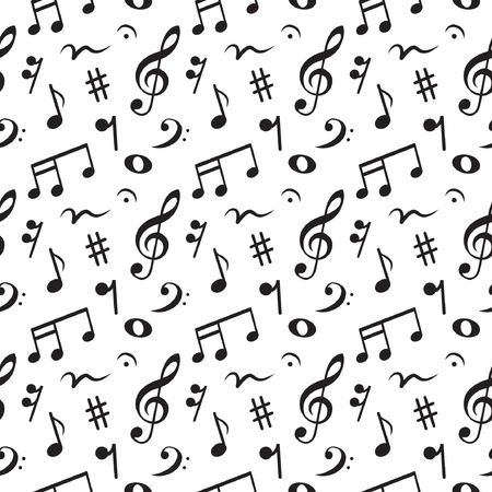 eighth: Musical  made of notes  seamless pattern,