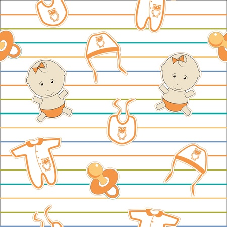 Cute baby background, seamless pattern,  Vector