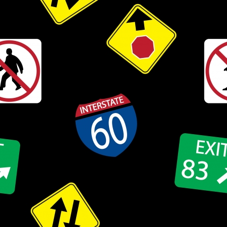 background with  road signs, seamless pattern Vector