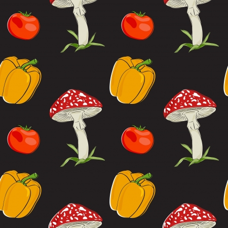 Vector summer background with vegetables, seamless pattern Vector