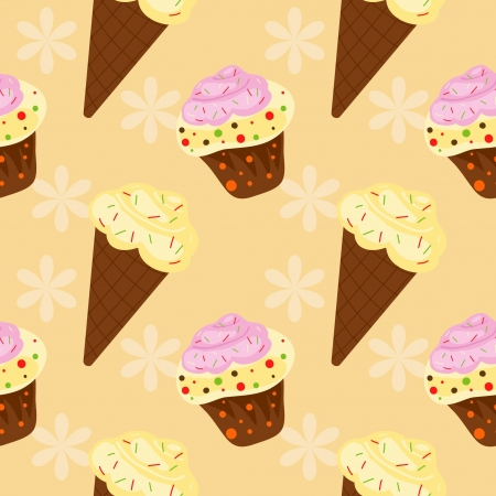 background with cake and ice cream, seamless pattern Vector
