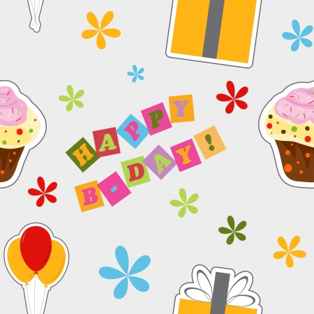 happy birthday background , seamless pattern Illustration