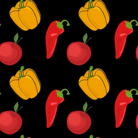 summer background with vegetables, seamless pattern Vector