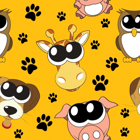 background with cartoon animals , seamless pattern