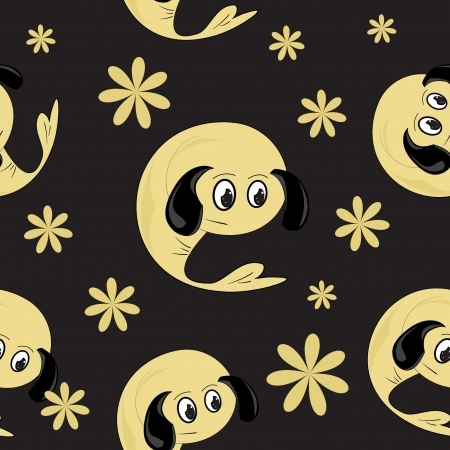 background with cartoon animals , seamless pattern Vector