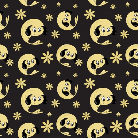 background with cartoon  character, seamless pattern Vector