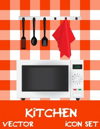 illustration of kitchen (microwave plus appliances) Vector