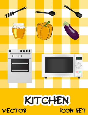 Icon set of kitchen  appliances, Vector